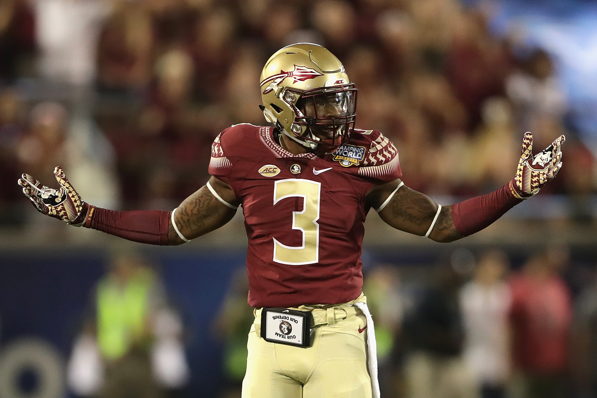 Fsu football 5 players noles cant afford to lose in 2017 page 2 orlando fl september 05 derwin james 3 of the florida state seminoles reacts in the first half against the mississippi rebels during the camping world voltagebd Image collections